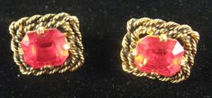 Vintage Signed Sarah Coventry MAJORCA 1969 Red Gold Tone Clip Earrings  #SarahCoventry #Clip