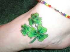 Foot Tattoos | Beautiful Green Shamrock Foot Irish Tattoo