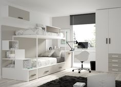 Great furniture ideas for small spaces Bedroom Bed Design, Bedroom Decor, Bed With Wardrobe, Modern Bunk Beds, Shared Rooms, Space Saving Furniture, Kids Room Design, Awesome Bedrooms, Dream Rooms