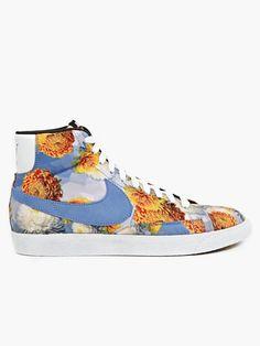 Nike Blue Men's Floral Print Blazer Mid VNTG QS Sneakers | oki-ni