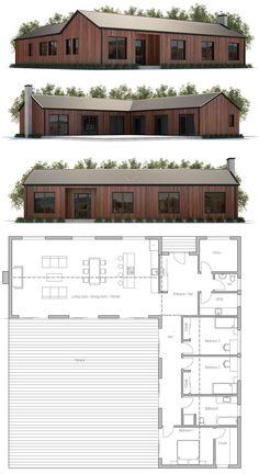 Modern Farmhouse house plan, home decore, architecture Modern Barn House, Barn House Plans, Modern House Plans, Small House Plans, House Floor Plans, House Blueprints, Cabins And Cottages, House Layouts, Architecture Design