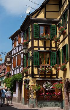 Ribeauville on the Rue du Vin in the Alsace region of France is a beautiful…