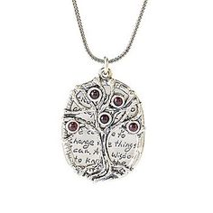 "Passage to Israel™ Sterling Silver 18"" Gemstone Tree of Life & Prayer Necklace"