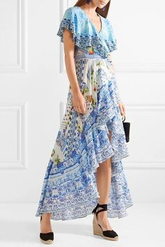 CAMILLA Rio crystal-embellished printed washed-silk wrap stylish maxi dress