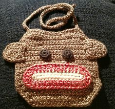 Sock monkey bib by KitandaKreations on Etsy