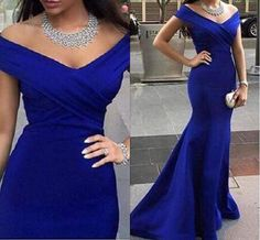 Modest Royal Blue Off Shoulder Evening Dresses Mermaid Long Backless Arabic Dubai Formal Prom Party Gowns Sweep Train Plus Size Sleeves Online with $100.51/Piece on Wanyuweddingdress's Store | DHgate.com