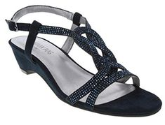 b1a0139836eb2e London Fog Womens Macey Demi-Wedge Dress Sandals Navy 6.5 M US Apparel  Accessories Shoes