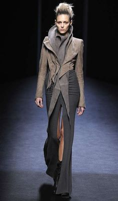 Architectural Jackets by The Haider Ackermann Fall 2010 Collection... luv the high collar and the hair