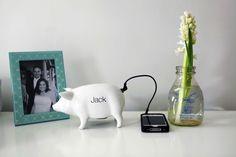 Monogrammed ceramic pig speaker from @west elm (http://www.westelm.com/products/ceramic-pig-speaker-c490) #nursery