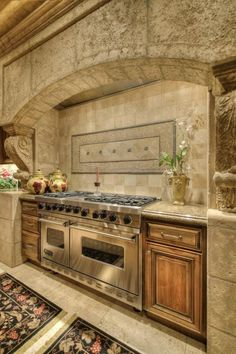 If you are having difficulty making a decision about a home decorating theme, tuscan style is a great home decorating idea. Many homeowners are attracted to the tuscan style because it combines sub… Rustic Kitchen Design, Luxury Kitchen Design, Dream Home Design, Home Decor Kitchen, New Kitchen, House Design, Kitchen Stove, Kitchen Ideas, Elegant Kitchens