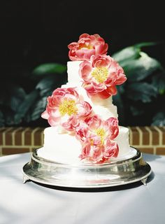 Wedding Cake with Pink Peonies