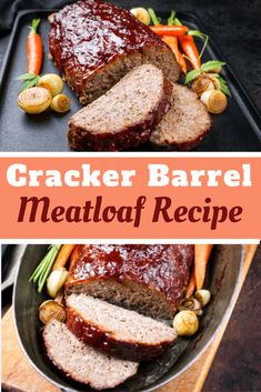 Cracker Barrel's Meatloaf Recipe is classic comfort food made with ground beef, onions, bell pepper, cheddar cheese, Ritz crackers and a sweet, savory glaze on top! Good Meatloaf Recipe, Best Meatloaf, Meatloaf Recipes, Hamburger Recipes, Beef Recipes For Dinner, Entree Recipes, Cooking Recipes, Cracker Barrel Meatloaf, Restaurant Recipes