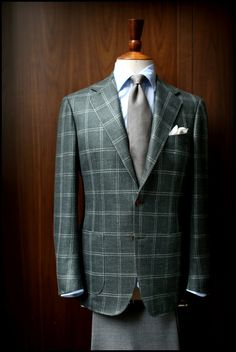 Ring Jacket Green check sport jacket in wool,silk,linen with grey grenadine tie by Drake's.
