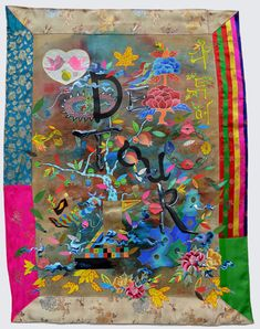 Detour, 2012, ink, acrylic, fabric, hanji, embroidery patches on hanji, 40.25 x 30 inches