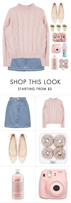 """""""Untitled #342"""" by inkcoherent ❤ liked on Polyvore featuring Topshop, Zara, philosophy, Pink, pretty, denim and aesthetic"""