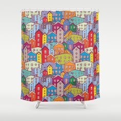 Cityscape Sketch Shower Curtain by EkaterinaP - $68.00