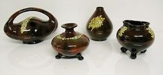 VTG 4 Pc PETERS AND REED Pottery Cauldron Basket Pot Belly Vases Flower Vine   | eBay