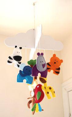 Baby Mobile Hanging Jungle Felt Cot Mobile Cloud by FeltTails