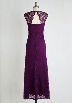 Honey, I'm Homecoming Dress. Stylishly celebrate your arrival back to town with a fete fitting of this aubergine maxi! #purple #wedding #bridesmaid #modcloth