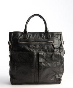 Balenciaga: black lambskin pocket tote bag
