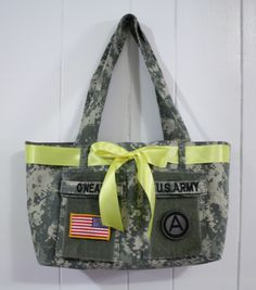 Military Uniform Shirt tote  These totes are all the rage with military wives and Moms and with an ACU jacket and a few hours, you can have your own! Tote Tutorial, Army Uniform, Military Uniforms, Uniform Shirts, Navy Uniforms, Military Love, Army Love, Military Shirt, Learn To Sew