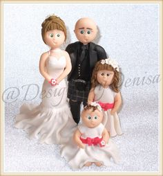 Personalised Wedding Cake Topper Handmade Clay by DesignsByDenisa