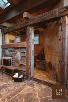 Large rustic Stone Shower for the cabin (plus you don't have to go through the hassle of cleaning a glass door) #LogCabinHomes