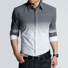 men's gradient checked shirt. Cute for D for the wedding!