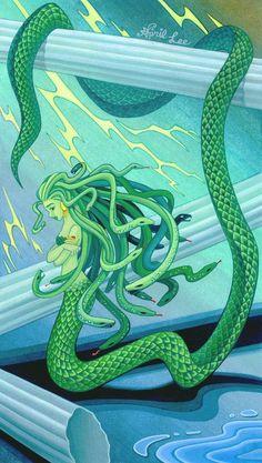 Medusa by April Lee Medusa Art, Medusa Gorgon, Medusa Tattoo, Mythological Creatures, Mythical Creatures, Greek Monsters, Science Fiction, Rome Antique, Legendary Creature