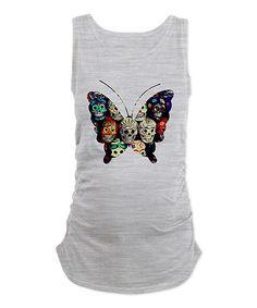 Gray Sugar Skull Butterfly Maternity Tank - Women & Plus