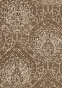 An exotic piece of artwork, Rio is a fluid #wallpaper design of raised dots and dashes, comprising a large-scale paisley of worldly spirit and intent. Featured here in #pewter from the Artisan collection. #Thibaut