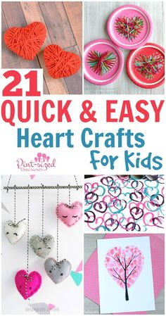Looking for an easy Valentine's Day craft your kids will love? Check out these 21 quick and easy heart crafts for kids. So many ideas and so few materials are needed for each easy-peasy craft!