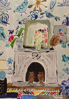 Bella Foster Interior water color painting with kooky details and bright colors and birds (owls in the hearth!)