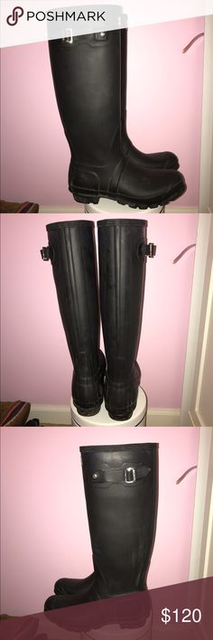 Tall Black Matte Hunter Boots Worn a few times. A few spots but very small. In great condition! Would love to get rid of asap! I am up for price negotiations! Hunter Boots Shoes Winter & Rain Boots