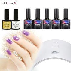 2017 Lulaa 108 color uv gel polish 24w timer LEDlamp manicure uv gel nail art diy nail tools sets kits nail gel kit 108 colors