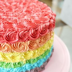 Cake Piping Patterns | ... chiller. So I decided to pipe rainbow roses around and on the cake