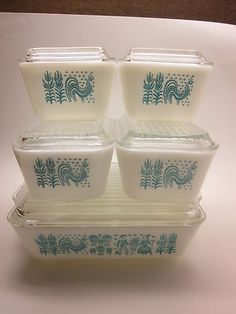 Vintage Pyrex Butterprint Turquoise Amish Refrigerator Dishes