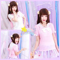 Bunny-Eared Kawaii Pastel Seifuku Top   http://bonbonbunny.com/archives/4022/pink-and-lavender-clothing-for-kawaii-pastel-style-sweetness
