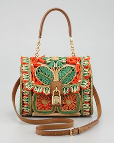 Miss Dolce Floral Raffia Satchel Bag, Red/Green by Dolce & Gabbana at Neiman Marcus.