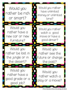 Would you rather...? speaking