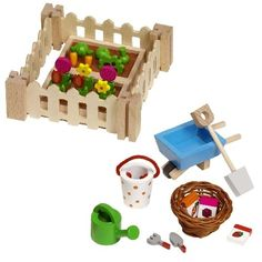 Wooden Dolls House Vegetable Garden Plot - recreate for american girl size! This is a cute idea for summer time.