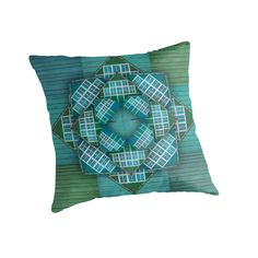 Throw pillow. Artwork: Windows & Doors - turqoise by Anna Sköld at Lumumma infodesign. Check out this artwork on more products at www.redbubble.com/people/lumumma/shop