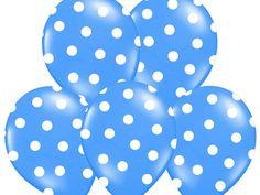 """Balon 14"""" niebieski w białe kropki, 1 szt"""