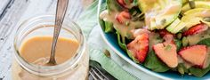 """Magical"" Applesauce Vinaigrette This salad dressing uses applesauce to emulsify the ingredients and produce a surprisingly thick vinaigrette that is virtually fat-free! Feel free to play with some of the seasonings if you'd. Plant Based Whole Foods, Plant Based Eating, Plant Based Diet, Plant Based Recipes, Apple Recipes, Whole Food Recipes, Cooking Recipes, Oil Free Salad Dressing, Vinaigrette Dressing"