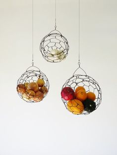 Hanging Wire Fruit Or Vegetable Sphere Basket By CharestStudios. Way Better  Than A Simple Fruit Basket !