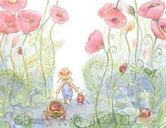 Friends Walking through the Poppies 8 X 10 by Periwinklesky