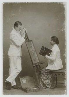 Foto dari salah satu adegan tentoonsteeling (Semacam teater pada masa kolonial). 1900-1920