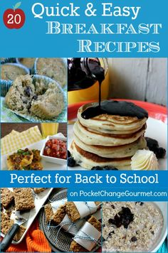 20 Quick Breakfast Recipes :: Skip the drive-thru and get breakfast on the table fast with one of the delicious recipes! Visit PocketChangeGourmet.com #BacktoSchool #Breakfast #Quick