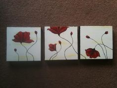 DIY wall art red flowers