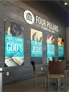 Church Signage: How to Get it Right Church Foyer, Donor Wall, Sign Company, God Jesus, Wall Design, Wall Murals, Signage, Harvest, Words